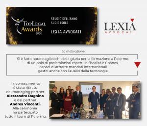 """LEXIA Avvocati è lo studio legale dell'anno """"Sud e Isole"""" ai TopLegal Awards 2020"""