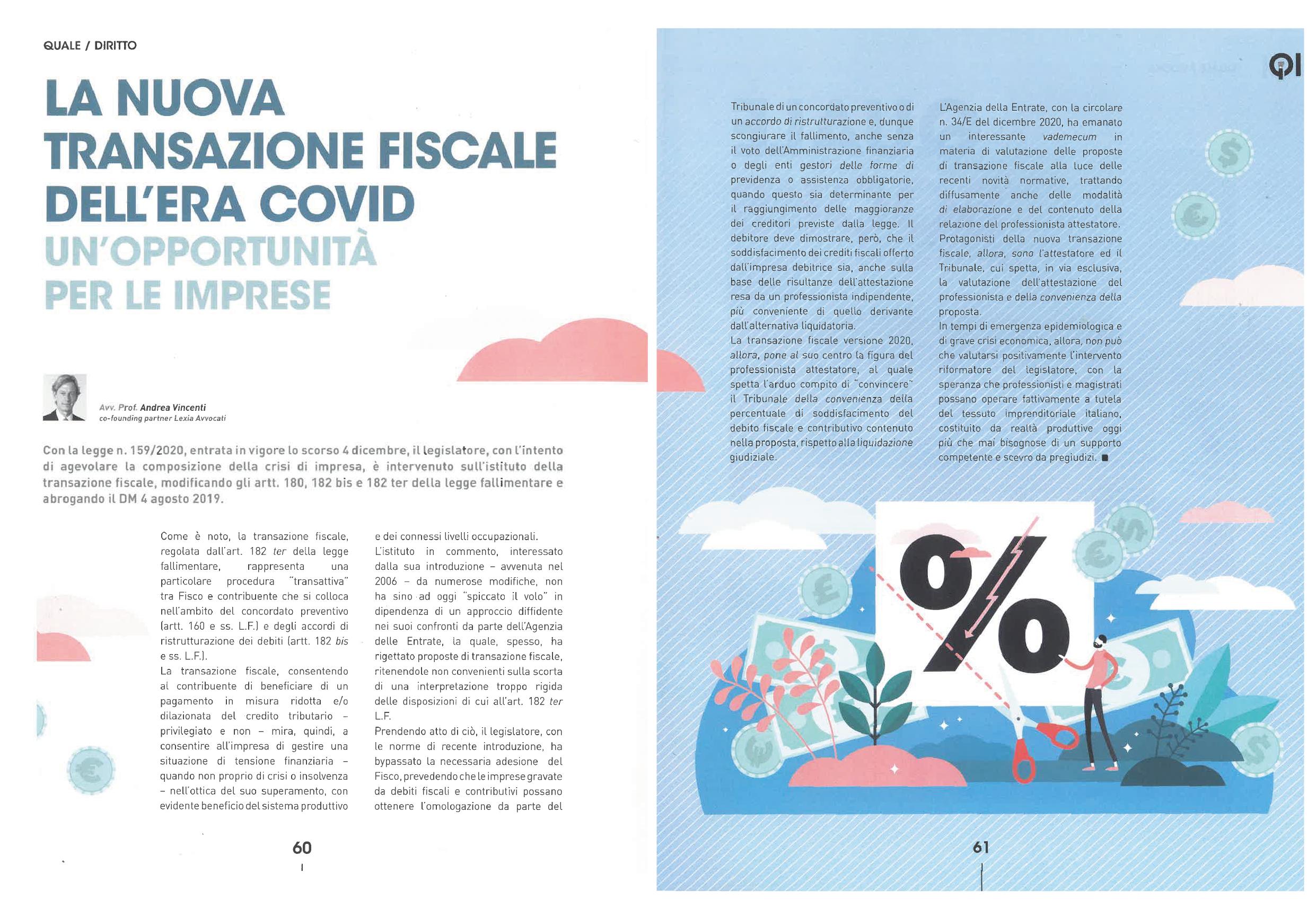 articolo transazione fiscale rivista confindustria giovani